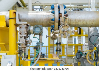 Differential pressure transmitter meter with orifice plate for measure oil flowing inside pipeline by different pressure method and convert from analog to digital data for digital meter.