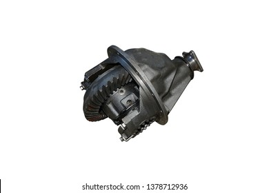 Differential rear axle of the car. Rear-wheel drive truck gearbox on isolated white background
