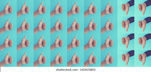 Differentiation or Effect result concepts with hand showing thumb up presents like and dislike,positive or negative sign on blue background.Business communication marketing,Motivation ideas