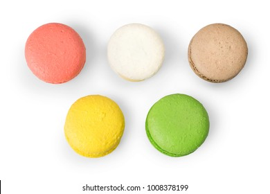 Differents colored macaroons isolated on white. Top view