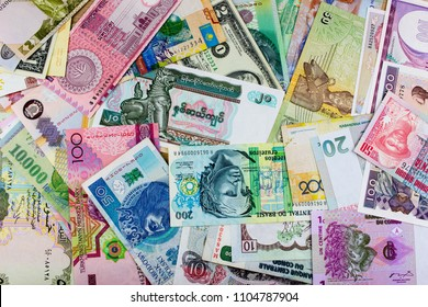 Differnt world banknotes. Business concept.