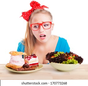 Difficult choice between junk and healthy food, diet dieting concept