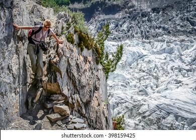 Difficult and dangerous rocky path towards Nanga Parbat base camp in Karakorum
