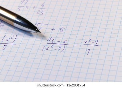 A difficult example in math lesson. Do it at home. Task assignment. University or high school. Czech school