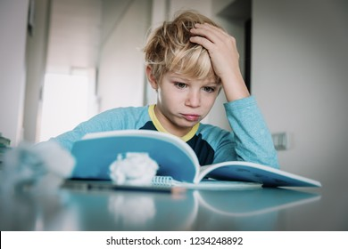difficult homework- little boy having problems with reading