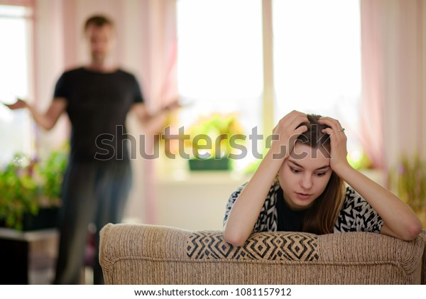 difficult relationship between the father and the daughter of a teenager. A father scolds a teenager's daughter while she is in her room - she does not want to listen to him.