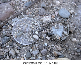 In Diffuse Lighting A United States Morgan Silver Dollar Covered With Dirt And Gravel Alongside An Equally Buried Bottle Cap