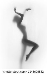Diffuse silhouette of a beautiful and sexy perfect body dancer woman