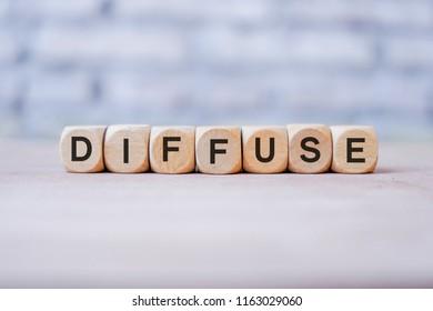 Diffuse word written on wood block