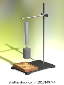 Diffusion of solids. Physics education science classrooms experiment. Lead cylinders with a hooked weight on a physics stand. 3D illustration on a colorful background.