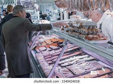 Digbeth, Birmingham / UK - April 13 2019: Nigel Farage shakes hands with a Market Trader  at Indoor Market Birmingham