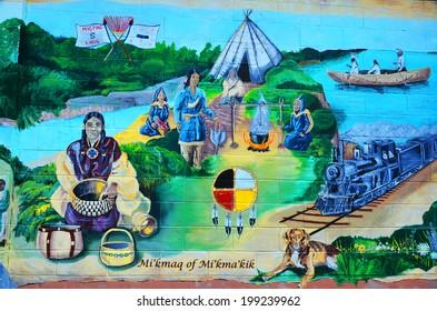 DIGBY NOVA SCOTIA JUNE 4: Mural tell story of acadians people of Nova Scotia on june 04 2014