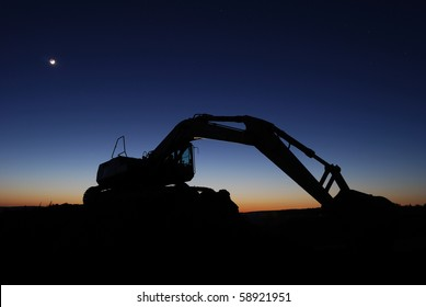 Digger after sunset
