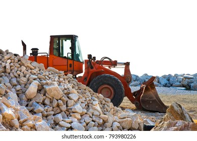 A digger builds a dam of white stones - image on white background for easy selection