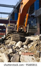 A digger on a building site.