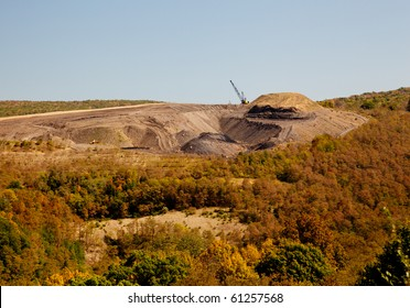 Digging for coal in W Virginia by removing mountain top