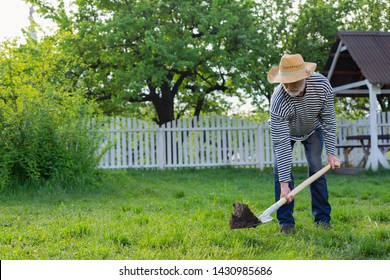 Digging ground. Grey-haired man wearing straw hat and striped shirt digging ground in his garden