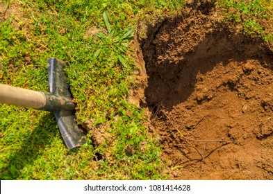 Digging soil in garden.Hole in the yard.Top view on shovel in green grass and fresh dirt in ground.Cultivation of field.Beginning seedling.