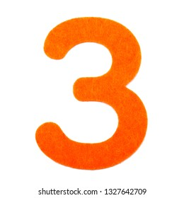 The digit 3 from orange felt, isolated on white background.