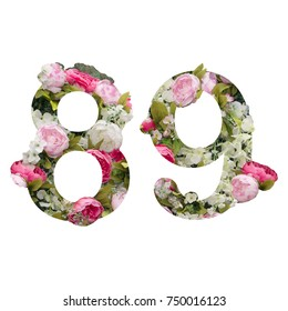 digit 8 and 9  made of leaves and flowers on white background