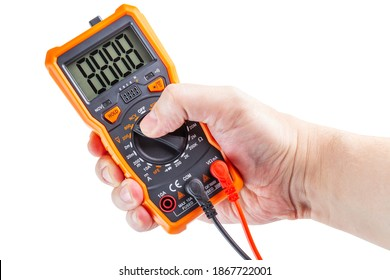 digit 8888 on lcd screen of digital electrical multimeter in right hand, isolated on white background, mockup
