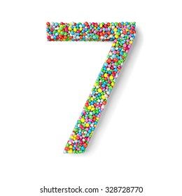 Digit seven coated with nonpareils of different colors isolated on white background