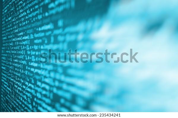 Цифровой абстрактный бит поток данных, кибер-шаблон цифровой фон. Синий цвет. Виньетка свет и темная тень драматический эффект. Гибберский, фиктивный, лорем ipsum текст. Буквы, символы и цифры.
