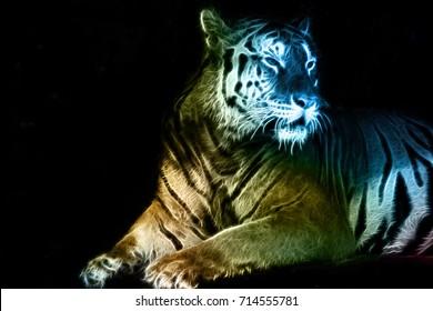 Digital abstract drawing of a tiger