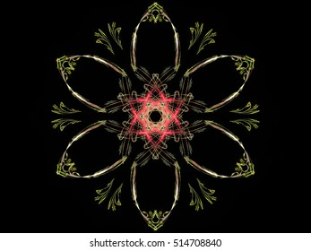 Digital abstract fractal brown with pink middle flower on black background
