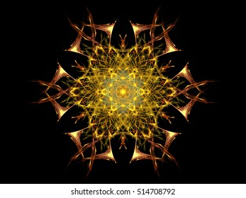 Digital abstract fractal colorful geometric gold flower on black background