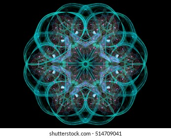 Digital abstract fractal emerald floral design on black background