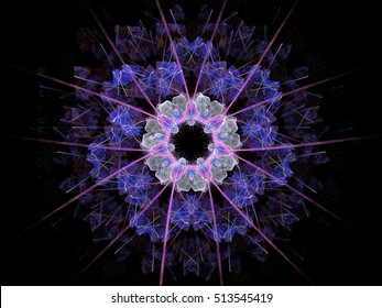 Digital abstract fractal floral pattern on a black background