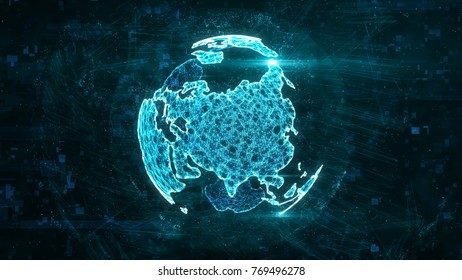 Digital abstract globe made of plexus glowing lines. Business technology structure of the cyan lines, dots and particles. Eurasia continent. 3d rendering
