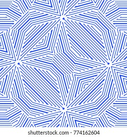 Digital abstract intricrate geometric linear seamless pattern design in blue and white colors