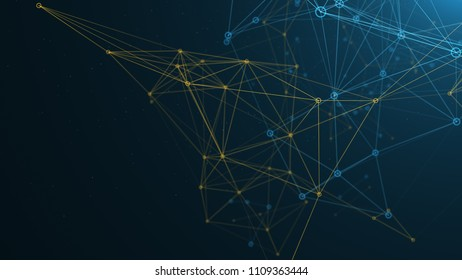 Digital abstract Network made of blue and yellow lines and connected dots. 3d render
