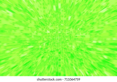 Digital acid green 3D rendering background of many rectangular columns of different heights with small squares