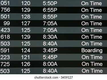 Digital airport board showing arrivals and departures on time