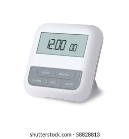 Digital alarm clock isolated on a white background