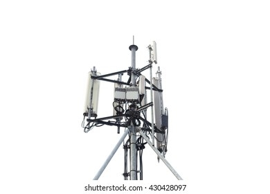 Digital antenna tower isolated on white background.