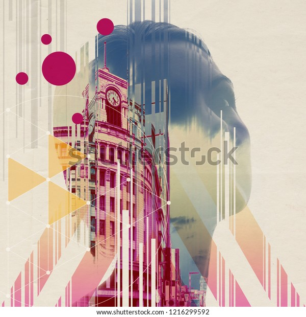 Digital art of the city and people.