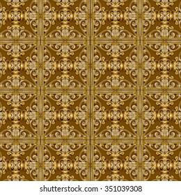 Digital art collage technique luxury modern futuristic decorative geometric pattern mosaic design in brown and black tones.