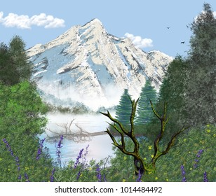 A digital art consisting of a large mountain with trees and a lake at the base.