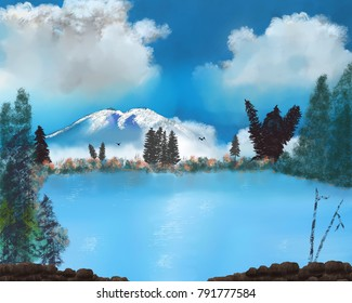 A digital art consisting of a large mountain with evergreens and a lake at the base.