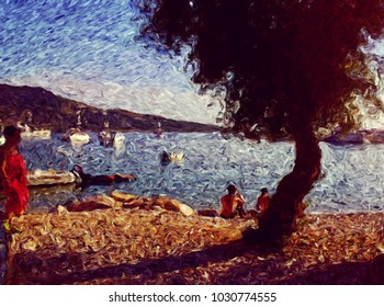 Digital Art with fine brush strokes: primosten, Croatia,  tourists on strand at sunset