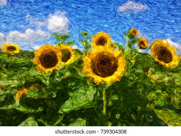 Digital Art with fine brush strokes: sunflower field on bright summer day, Van Gogh inspiration