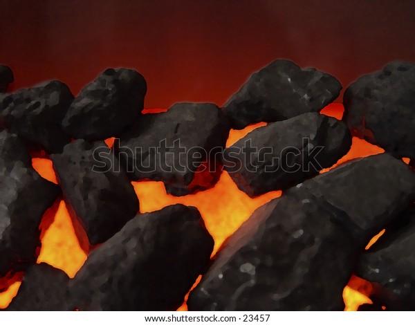 Digital art of hot coals