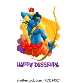Digital art illustration for indian holiday Vijayadashami. Happy Dussehra writing. God Rama with bow, arrows. Dasara hindu festival graphic clip art design. Good over evil victory mythological symbol