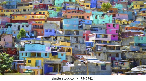 Digital art, paint effect, Housing stacked up a hillside in Port-Au-Prince, Haiti.