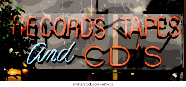 Digital Art Sign for Records, Cd's and Tapes