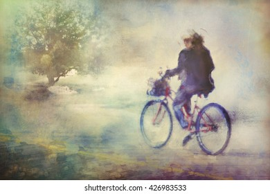 Digital art, watercolor effect paint, woman ride on bicycle, country road